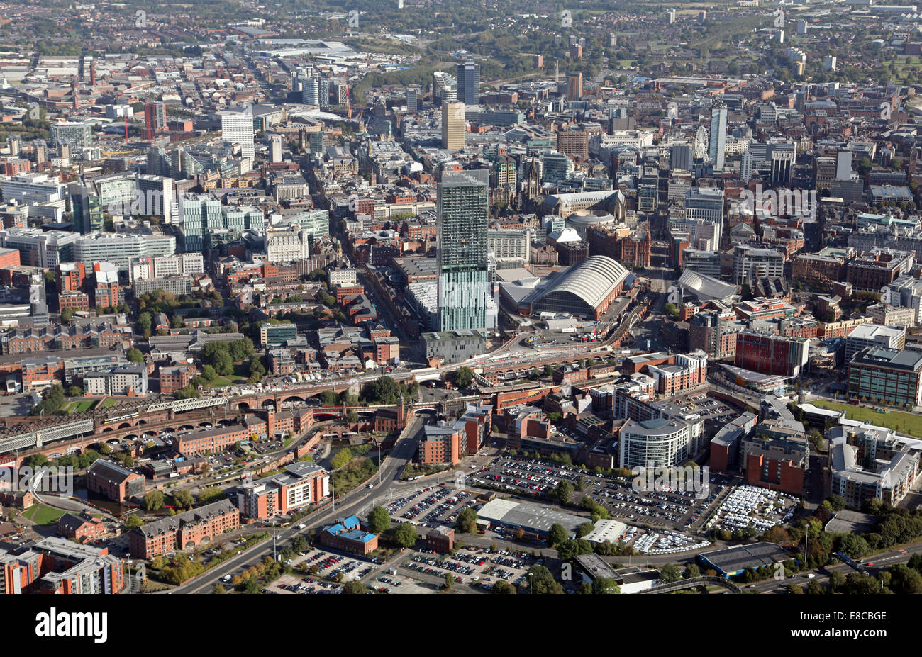 aerial view of Manchester city centre - Stock Image