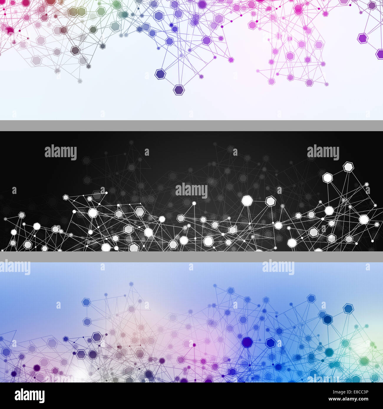 abstract technology geometric concept connections network banners - Stock Image