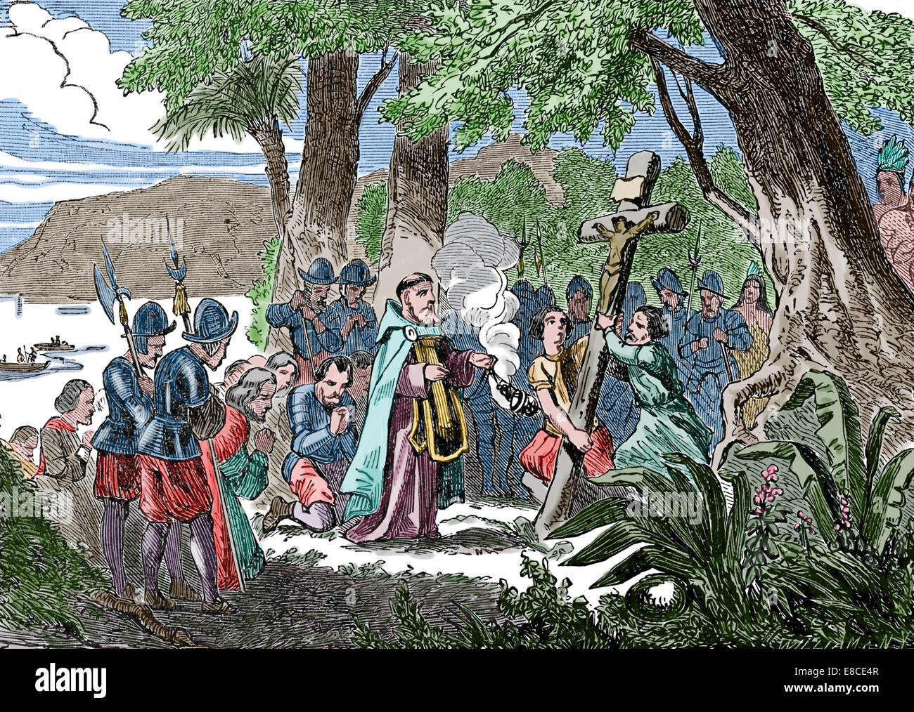 Discovery of America. The raising of the Christian cross following the discovery of the New World. 16th century. - Stock Image