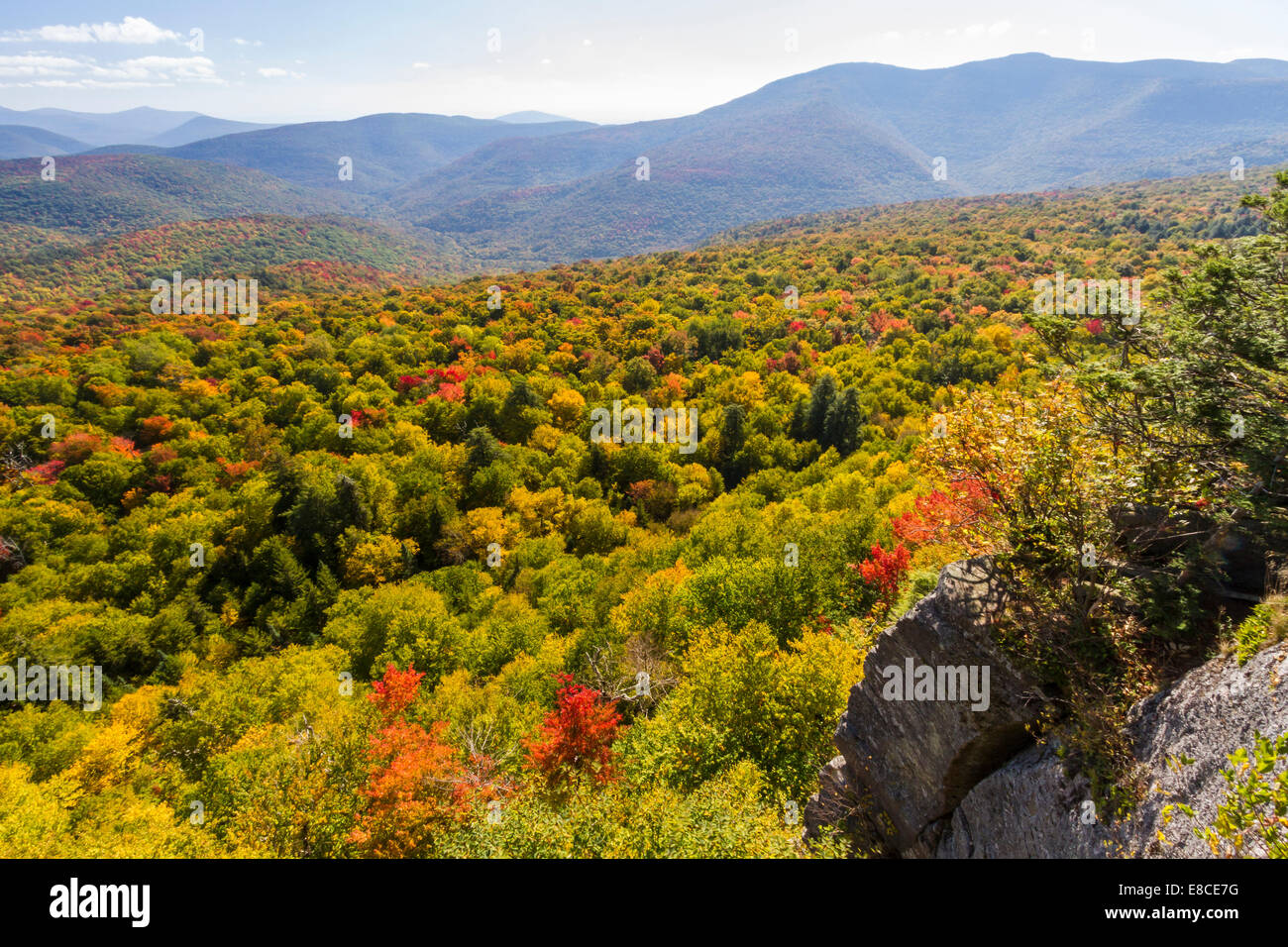 Slide Mountain, Woodland Valley and surrounding mountains seen from Giant Ledge in the Catskills Mountains of  upstate - Stock Image