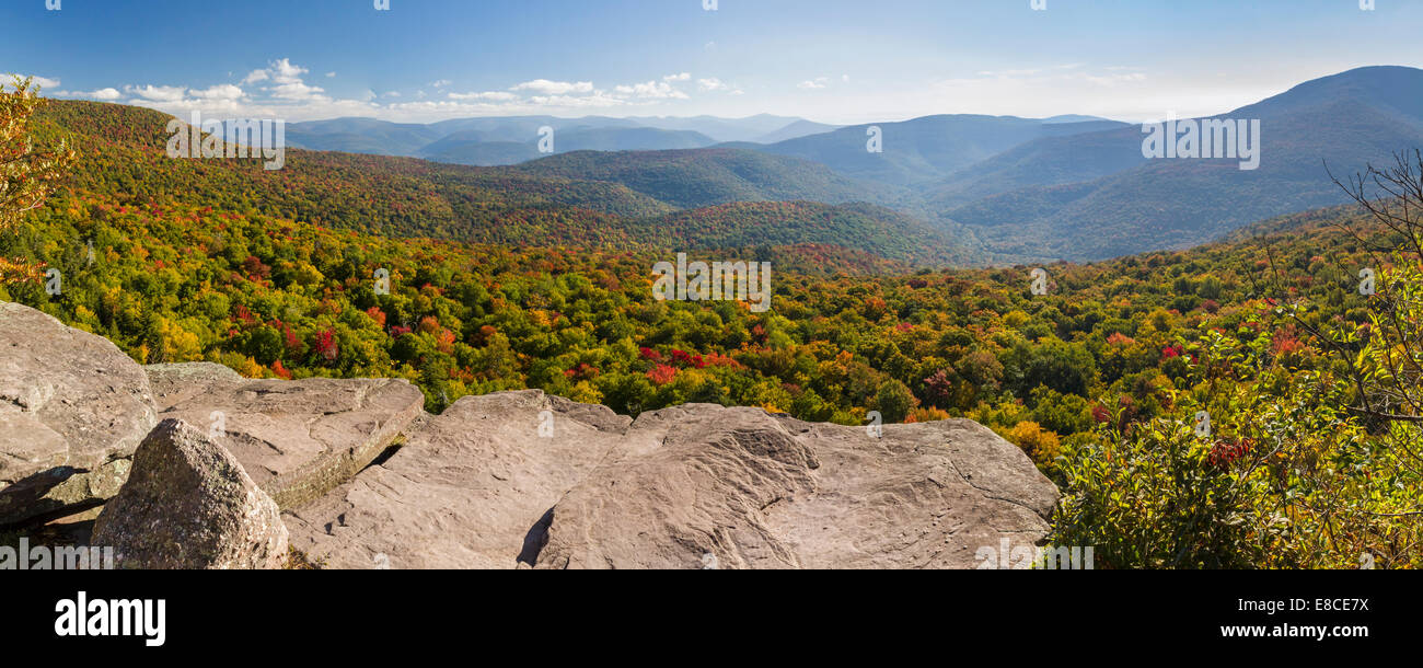 Slide Mountain and Woodland Valley seen from Giant Ledge in the colorful Catskills Mountains Panorama of upstate - Stock Image