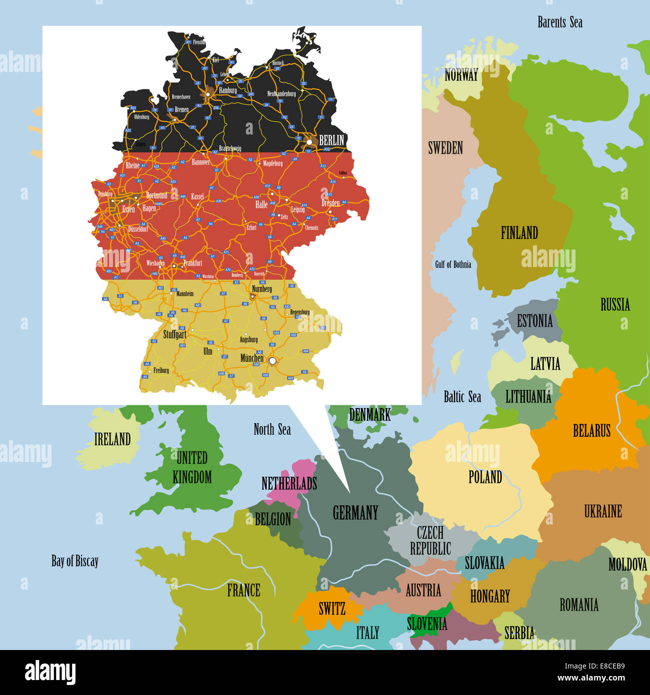 original map of europe and germany stock image