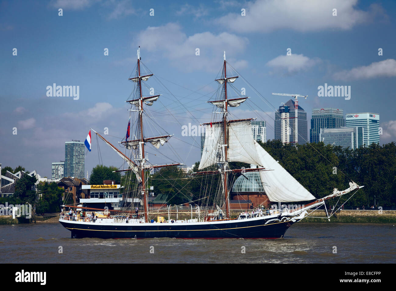 A tall ship sailing on the river Thames at Greenwich, London, UK. - Stock Image