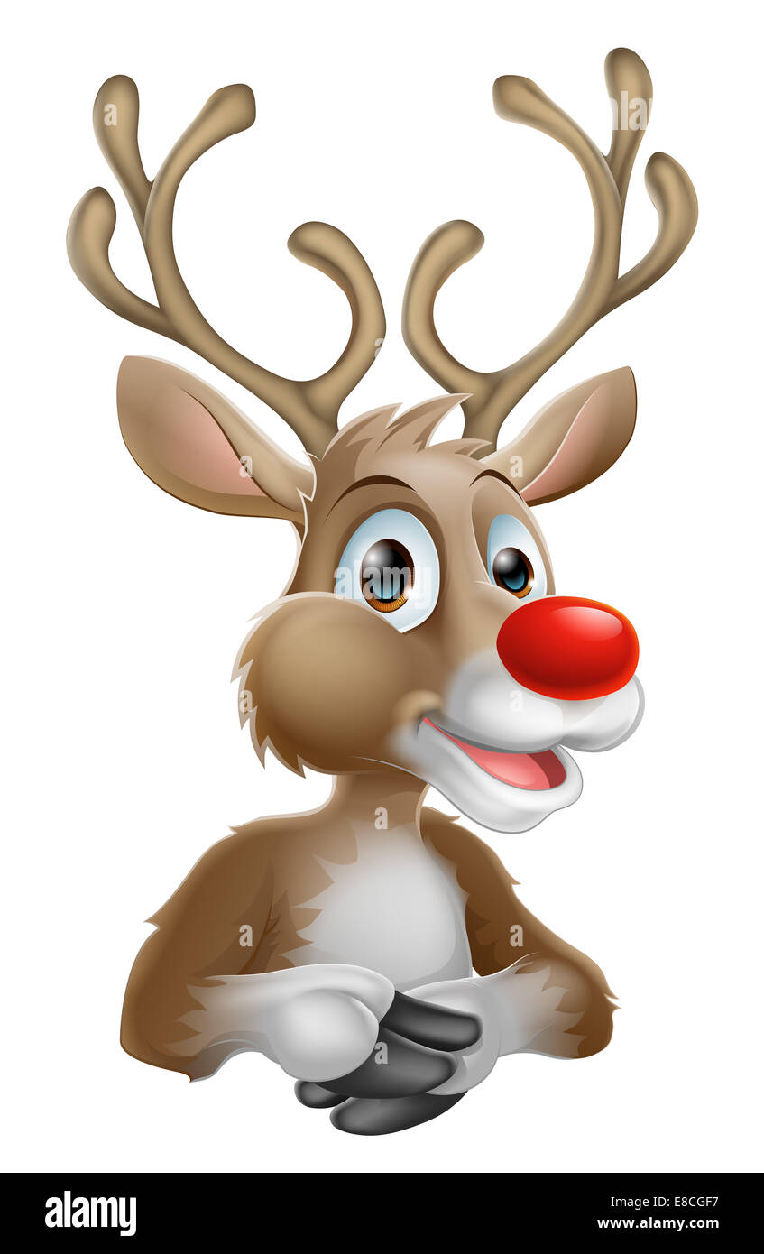 An illustration of a happy cartoon Christmas Reindeer - Stock Image