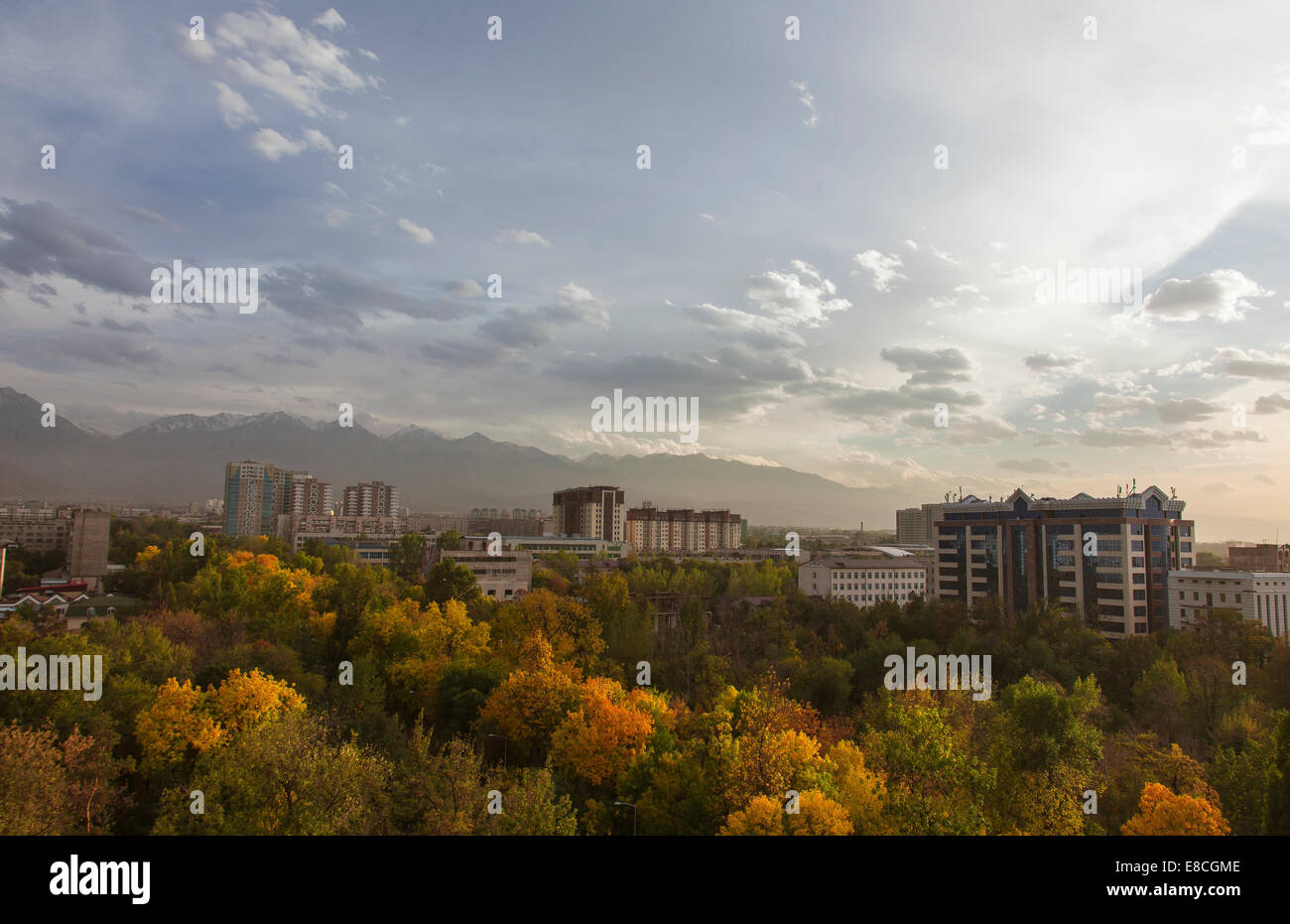 View of the city from the window, autumn, yellow leaves - Stock Image