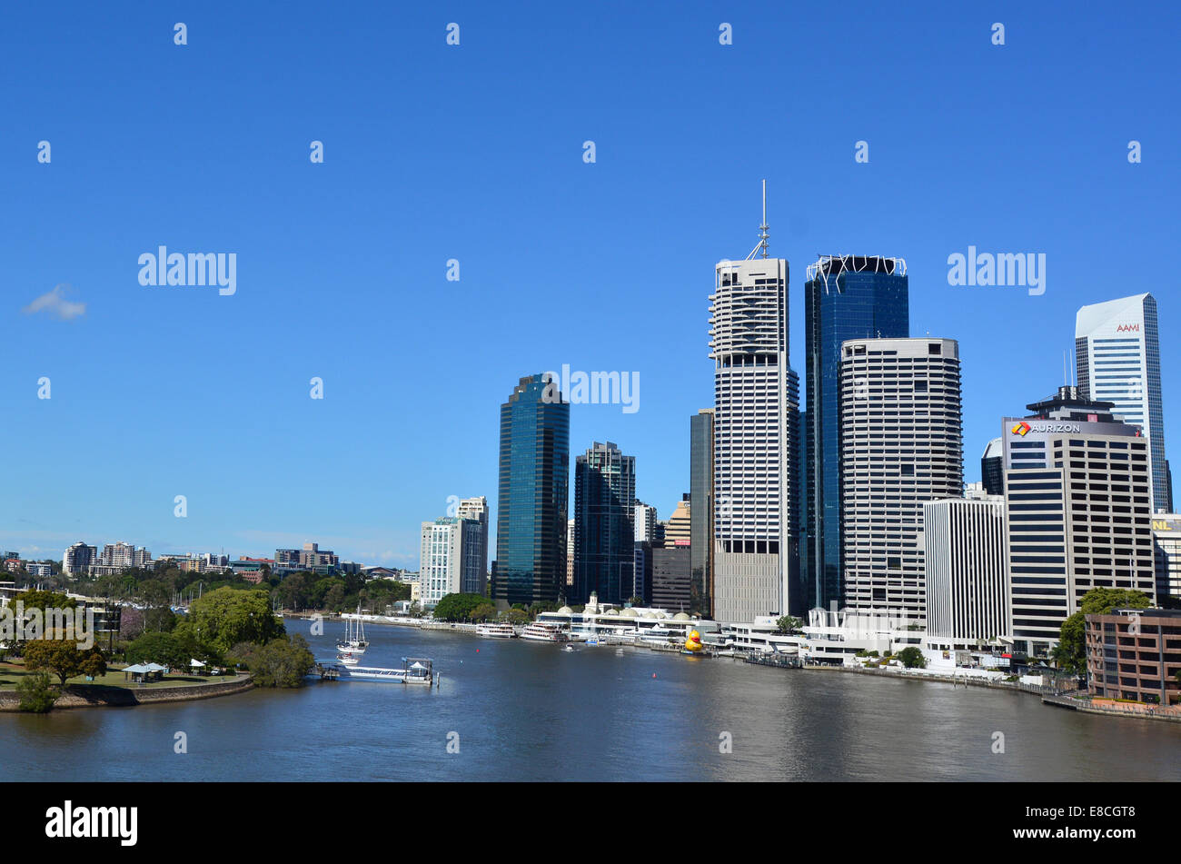 BRISBANE, AUS - SEP 25 2014:Skyline of Brisbane Riverside Quarter, Little Singapore. It's home to some of the city's - Stock Image