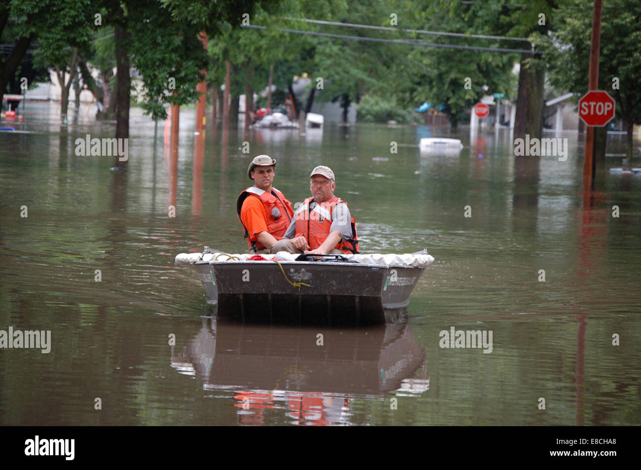 USGS Employees in Boat - Stock Image