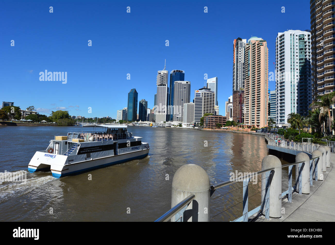 BRISBANE, AUS - SEP 26 2014: Ferry cruise at Little Singapore, Brisbane Riverside Quarter. It's home to some of - Stock Image