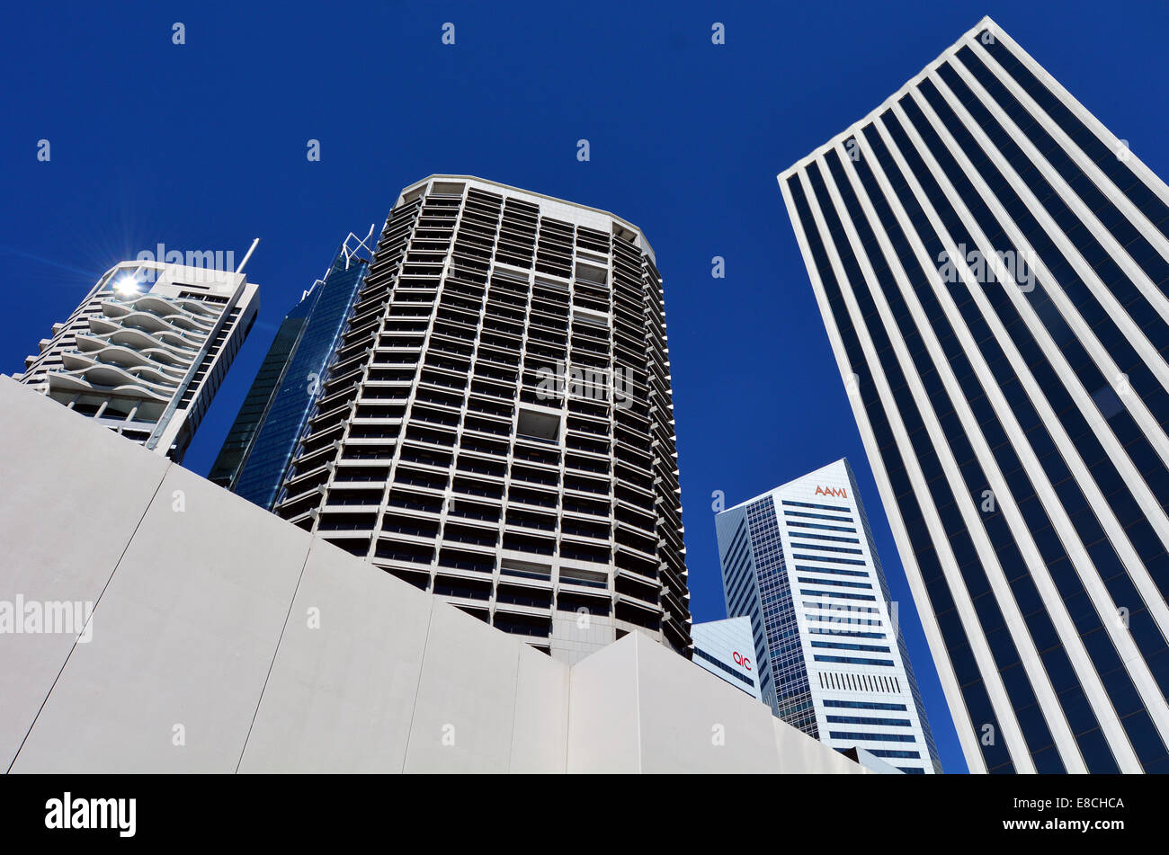 BRISBANE, AUS - SEP 26 2014: Skyscrapers at Little Singapore -Brisbane Riverside Quarter. It's home to some of the - Stock Image