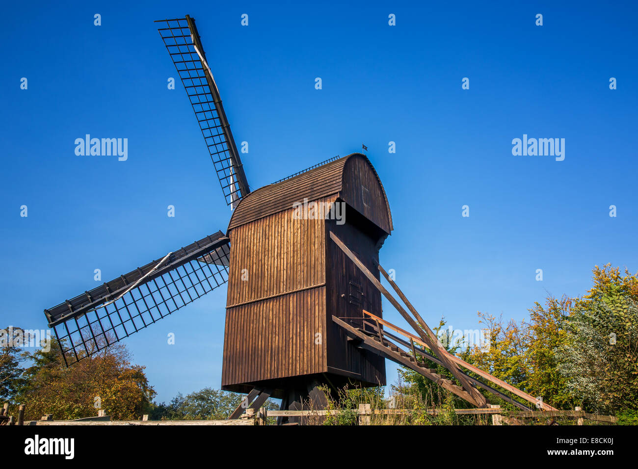Typical Danish windmill from the 16th century, The Open Air Museum, Frilandsmuseet, Lyngby, Copenhagen area, Denmark - Stock Image