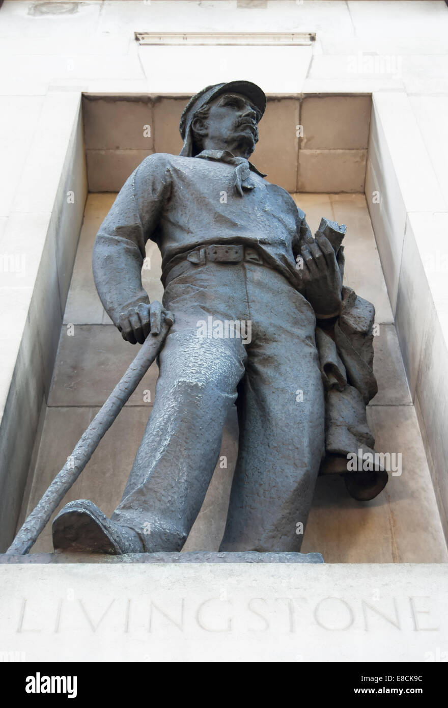t.b. huxley-jones'  statue of missionary and explorer david livingston, outside the royal geographical society, - Stock Image