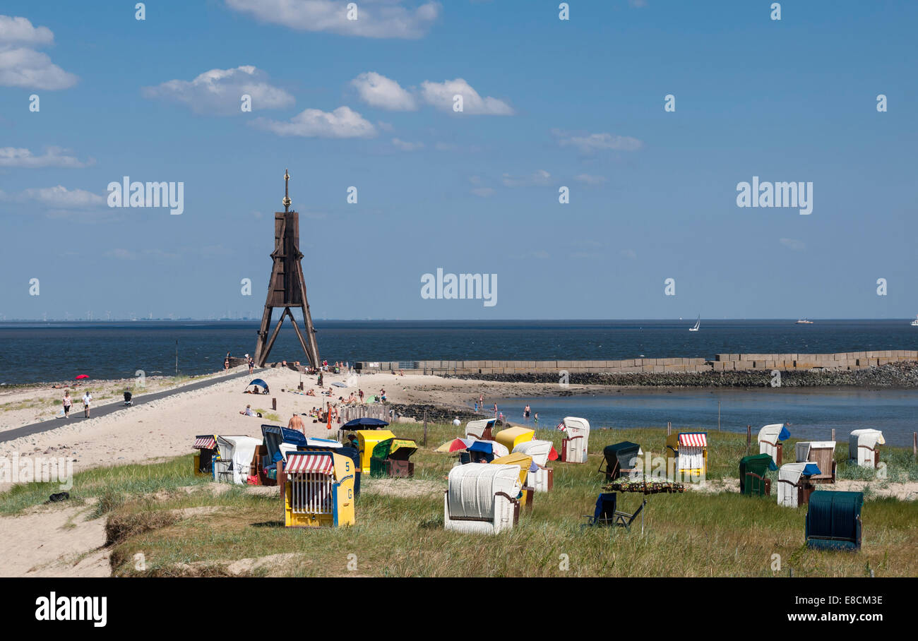 The Kugelbake (Ball Beacon) a historic navigation aid in Cuxhaven, Germany, located at the northernmost point of - Stock Image