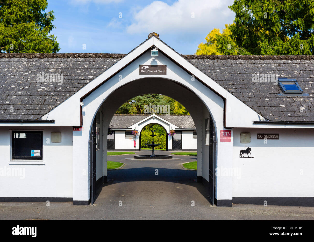 Sun Chariot Yard at the Irish National Stud breeding facility, Tully, Kildare, County Kildare, Republic of Ireland - Stock Image