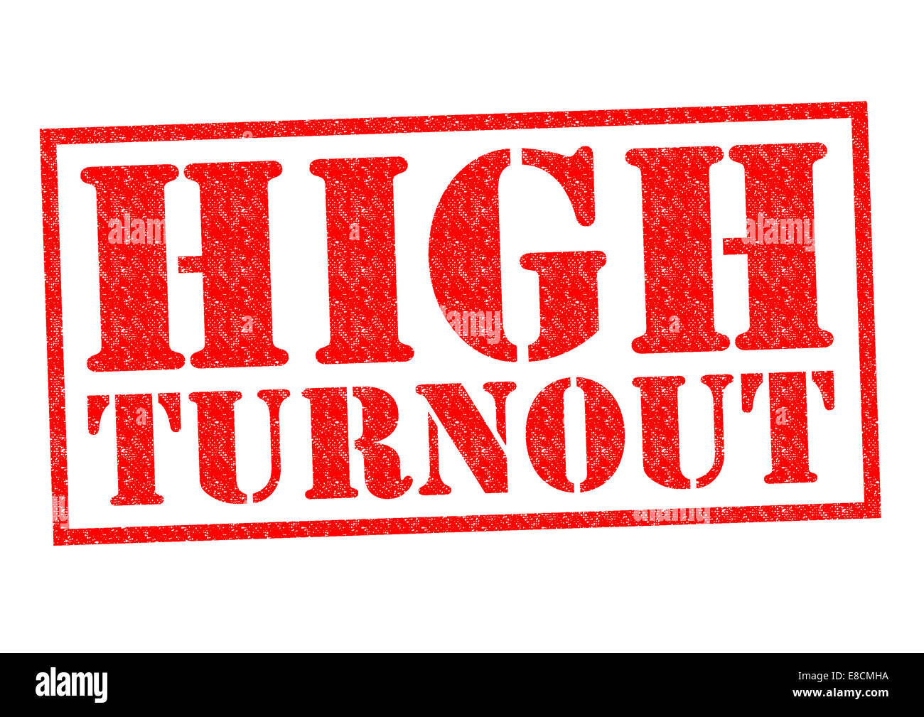 HIGH TURNOUT red Rubber Stamp over a white background. - Stock Image