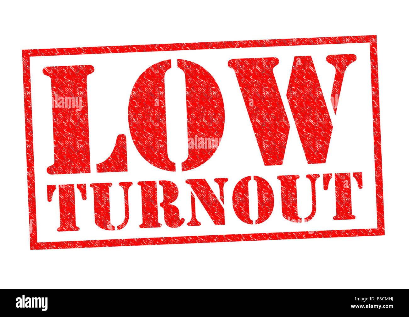 LOW TURNOUT red Rubber Stamp over a white background. - Stock Image