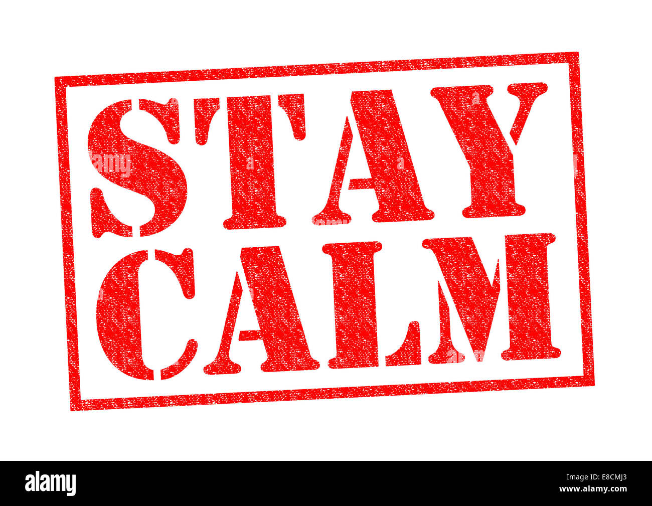 STAY CALM red Rubber Stamp over a white background. - Stock Image