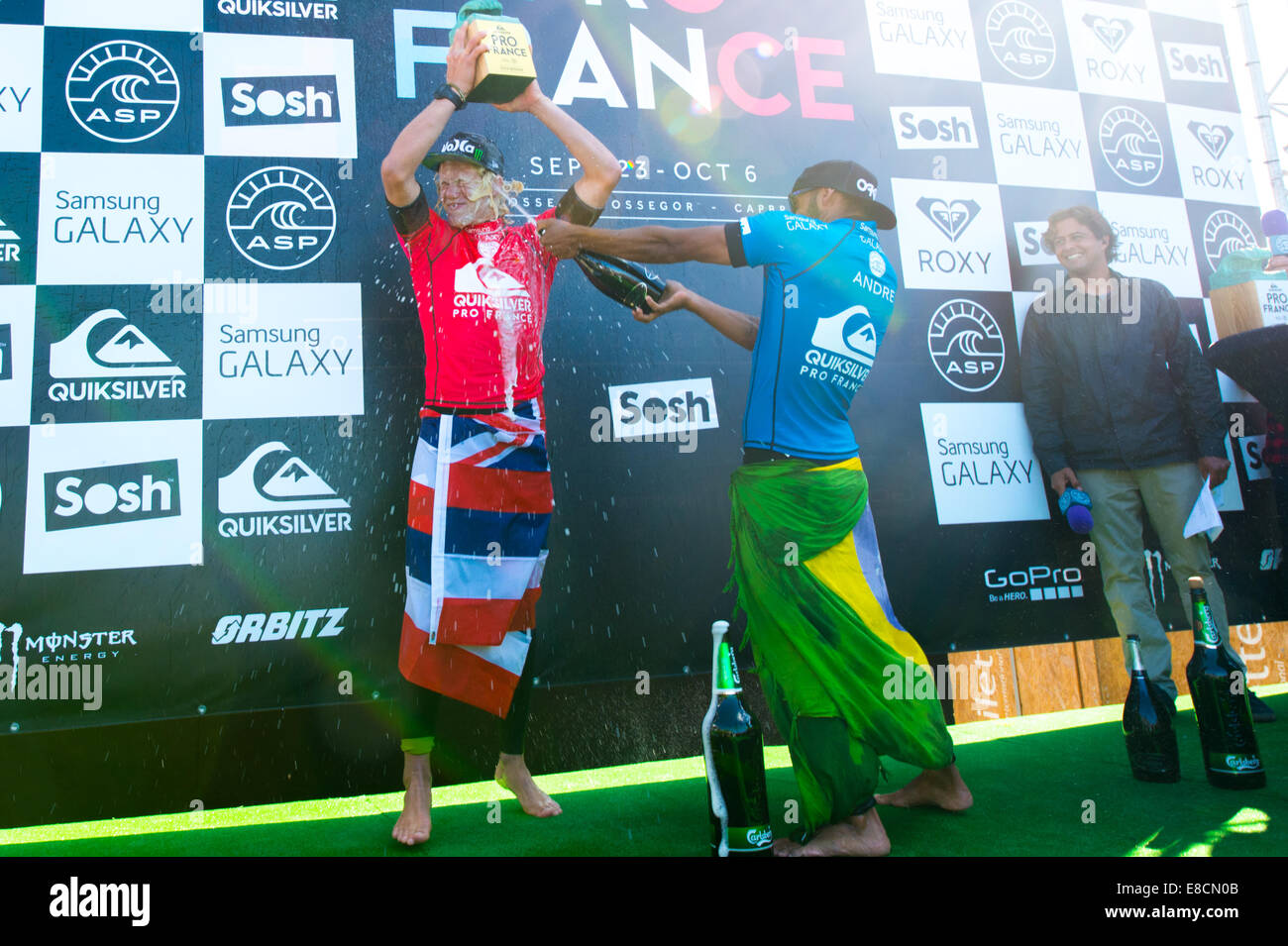 Seignosse, France. 5th Oct, 2014. John John Florence, of Hawaii, emerged victorious, beating Jadson Andre, (Brazil). - Stock Image