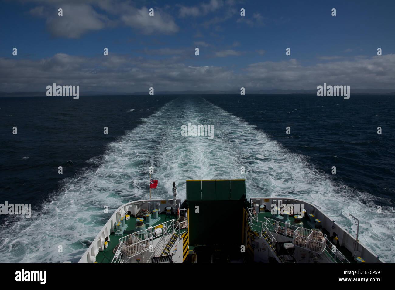 Caledonian Macbride (CalMac) car ferry Finlaggan en route from Kennacraig to Islay Port Askaig Stock Photo