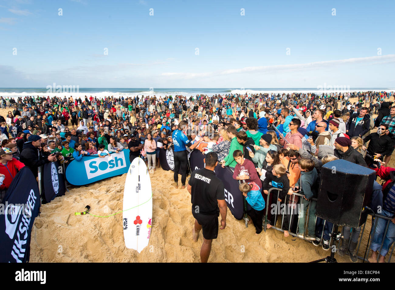 Seignosse, France. 5th Oct, 2014. John John Florence, of Hawaii, emerged victorious, beating Jason Andre, (Brazil). - Stock Image