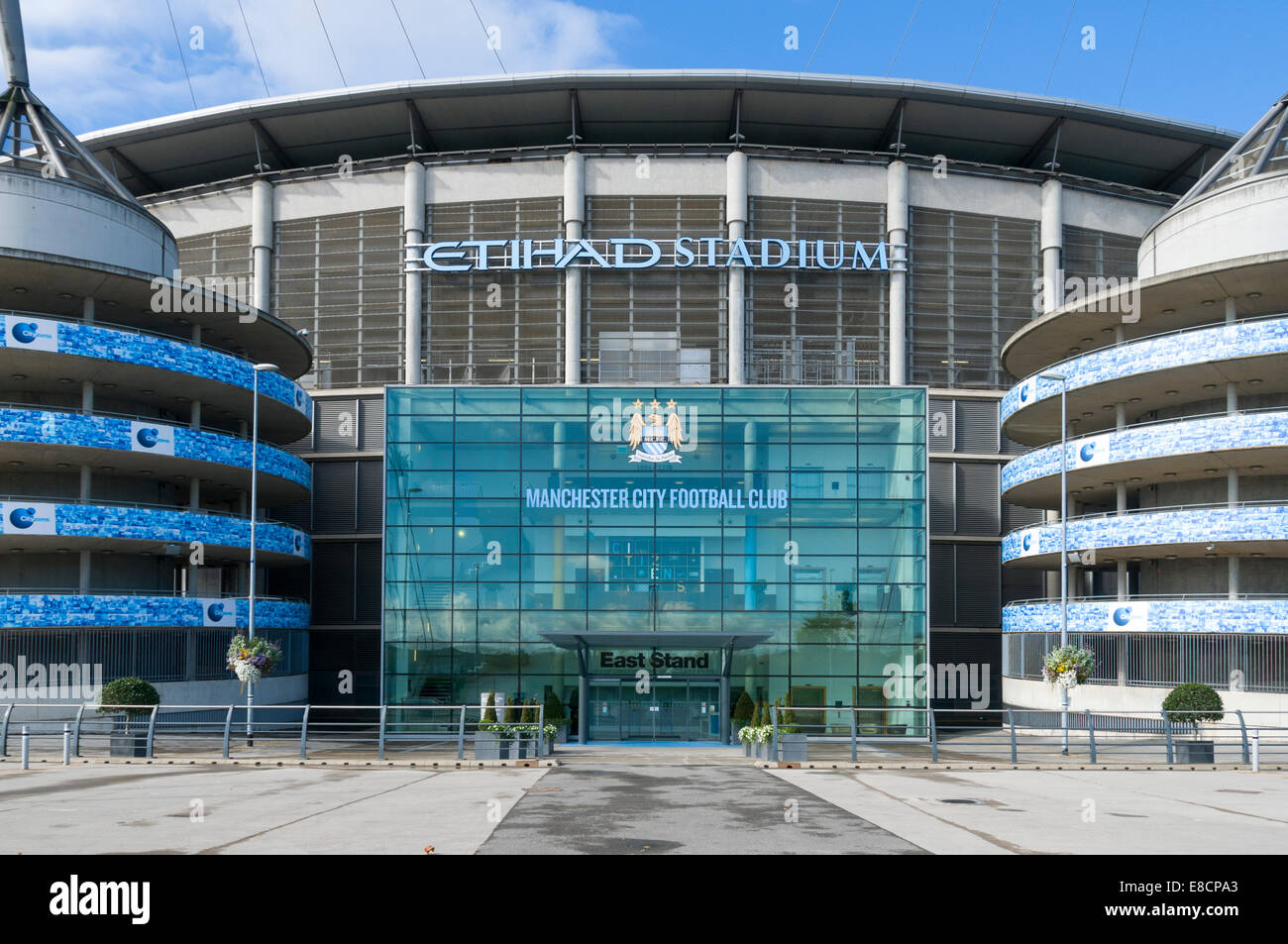 City of Manchester Stadium (Etihad Stadium), East Stand entrance, Clayton, Manchester, England, UK. - Stock Image