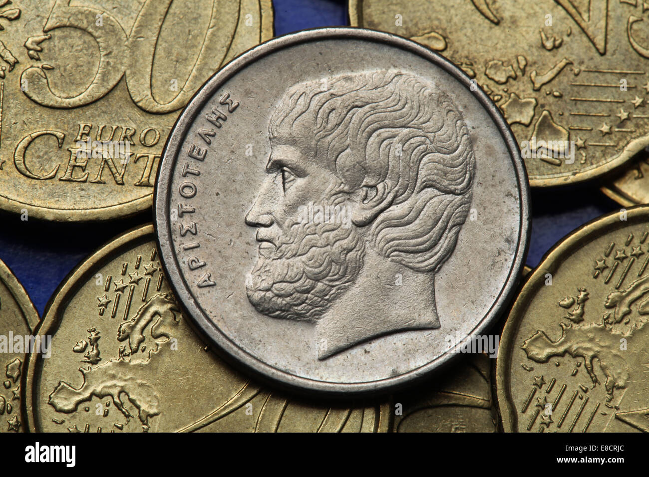 Coins of Greece. Greek philosopher Aristotle depicted in the old Greek five drachma coin. - Stock Image