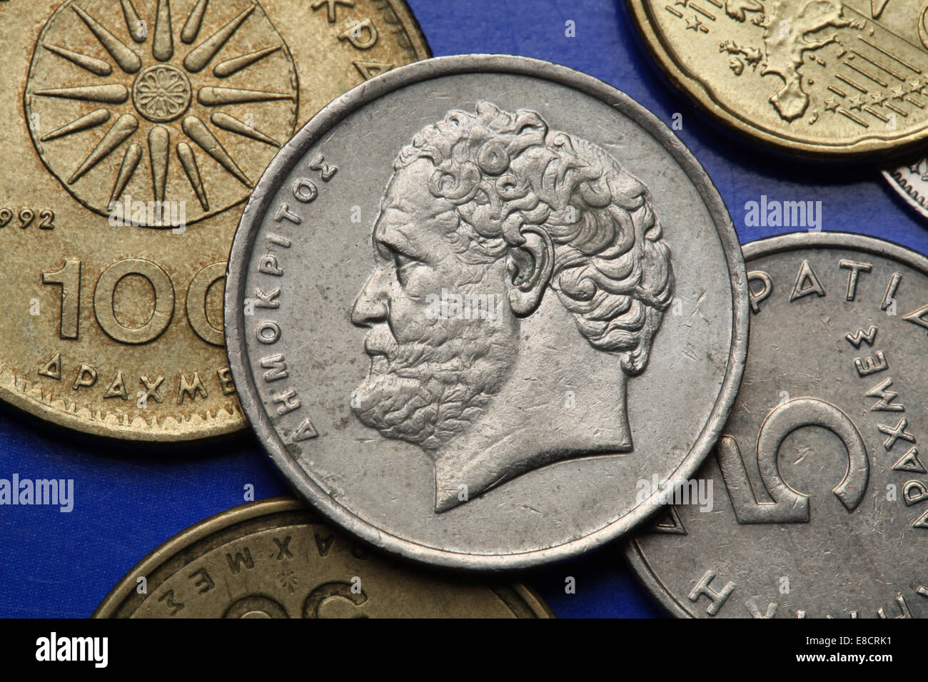 Coins of Greece. Greek philosopher Democritus depicted in the old Greek 10 drachma coin. - Stock Image