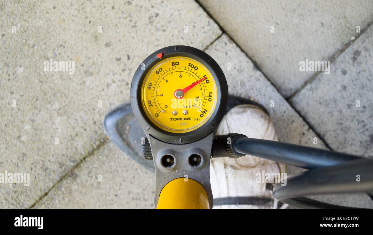 Bicycle pump pressure gauge - Stock Image
