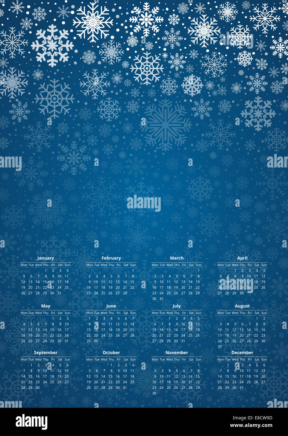 Vector calendar 2015, design template in a3-a4 poster size proportion with snowflakes design and place for your - Stock Image