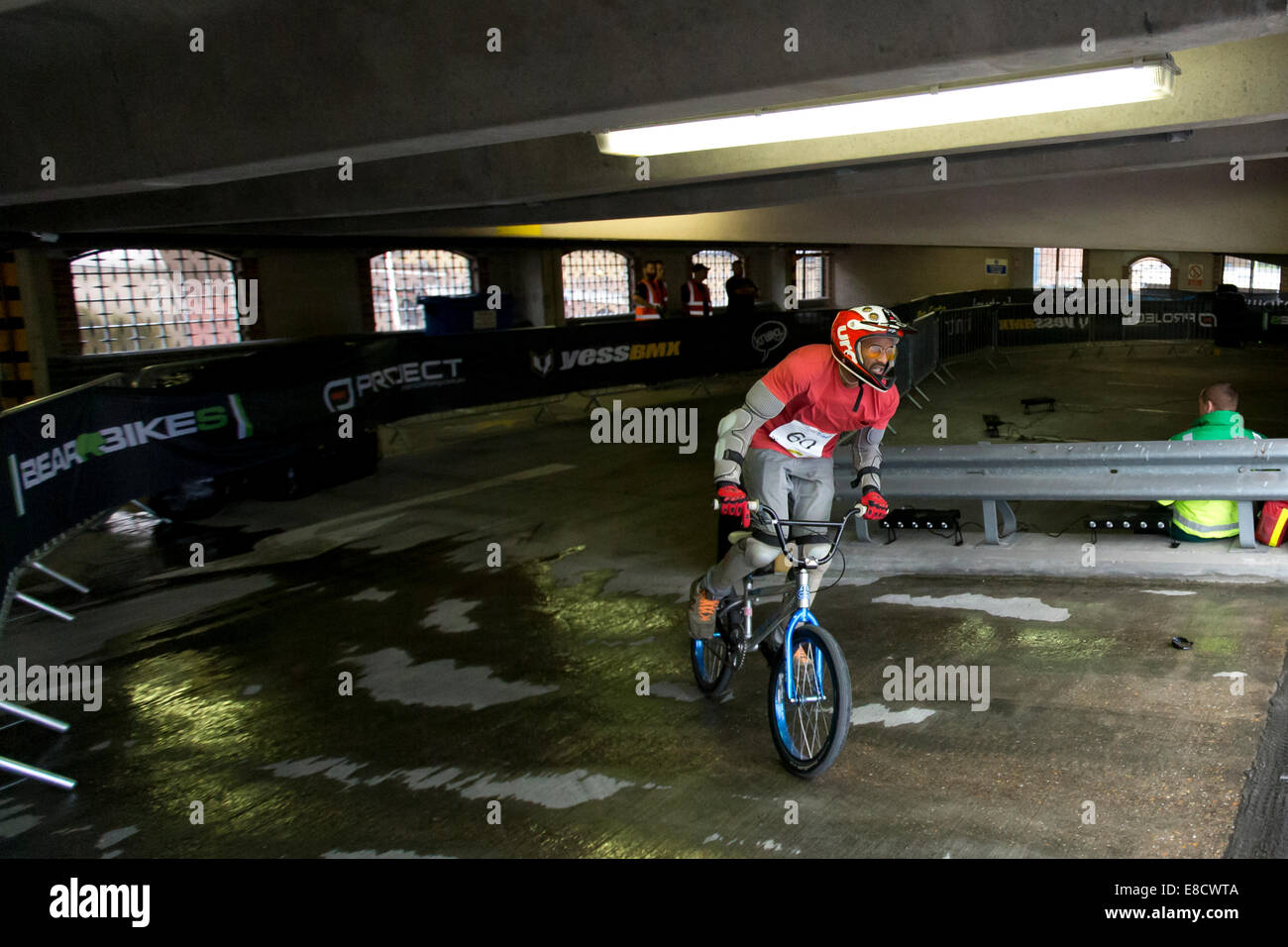 Previn JAGUTPAL (60) at Parkour Ride a multi-discipline cycling event held in an abandoned multi-storey car park, - Stock Image