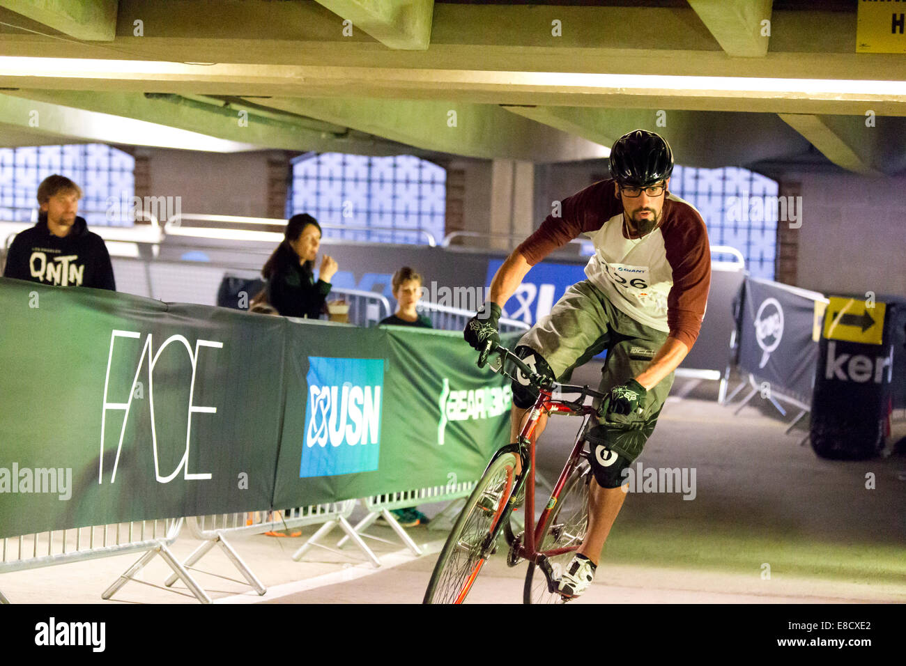 Sebastian SANTISO (126) at Parkour Ride a multi-discipline cycling event held in an abandoned multi-storey car park, - Stock Image