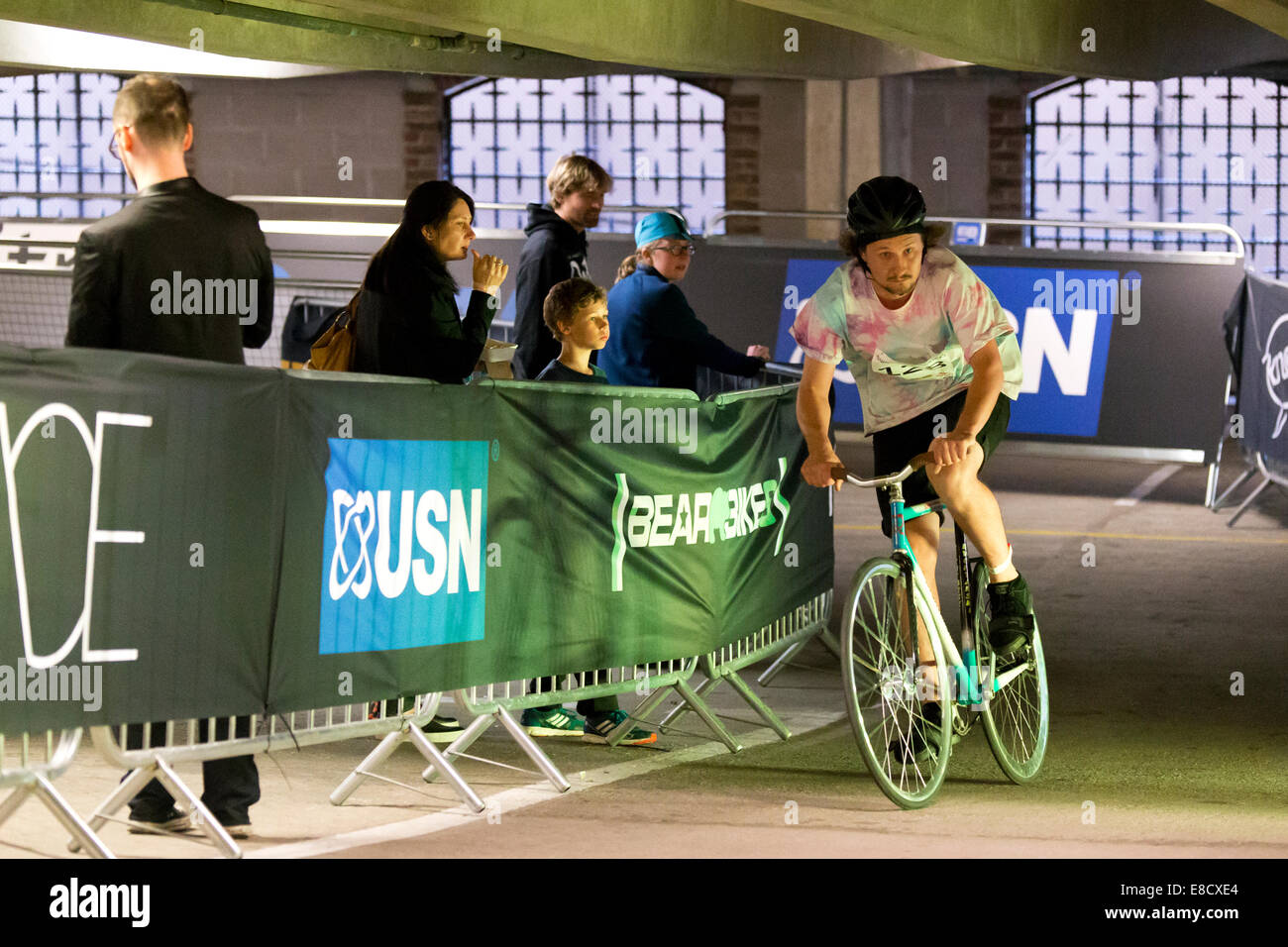 Mateusz CALKA (128) at Parkour Ride a multi-discipline cycling event held in an abandoned multi-storey car park, - Stock Image