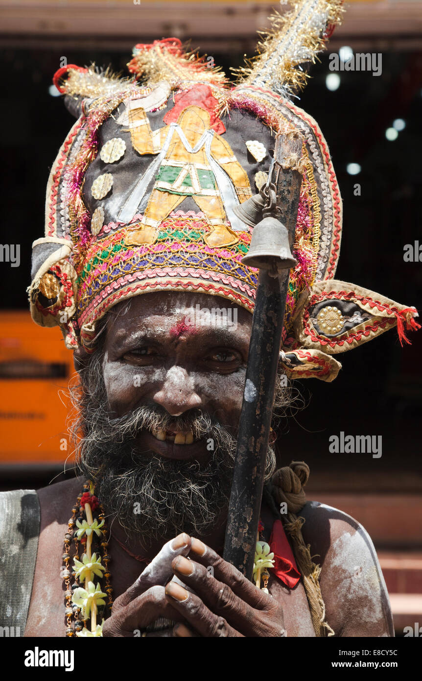 Bearded Sadu holy man in Madurai, Tamil Nadu, India - Stock Image
