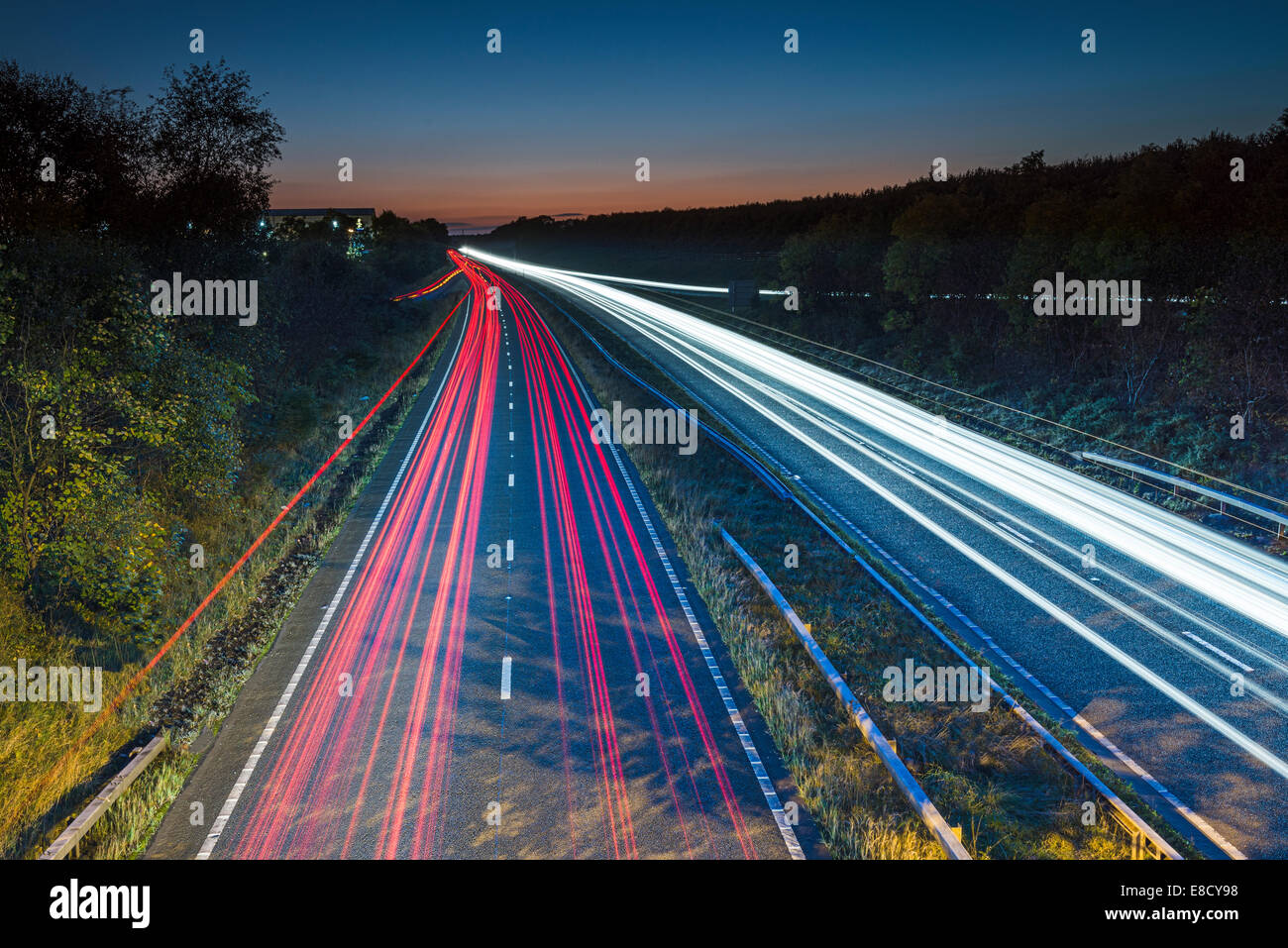 Light trails on the road - Stock Image