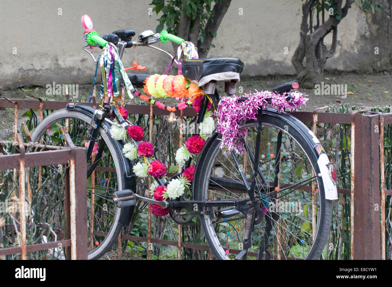 Garlanded Indian bicycle festooned with colourful ribbons and Christmas like decorations on the banks of the Ganges - Stock Image