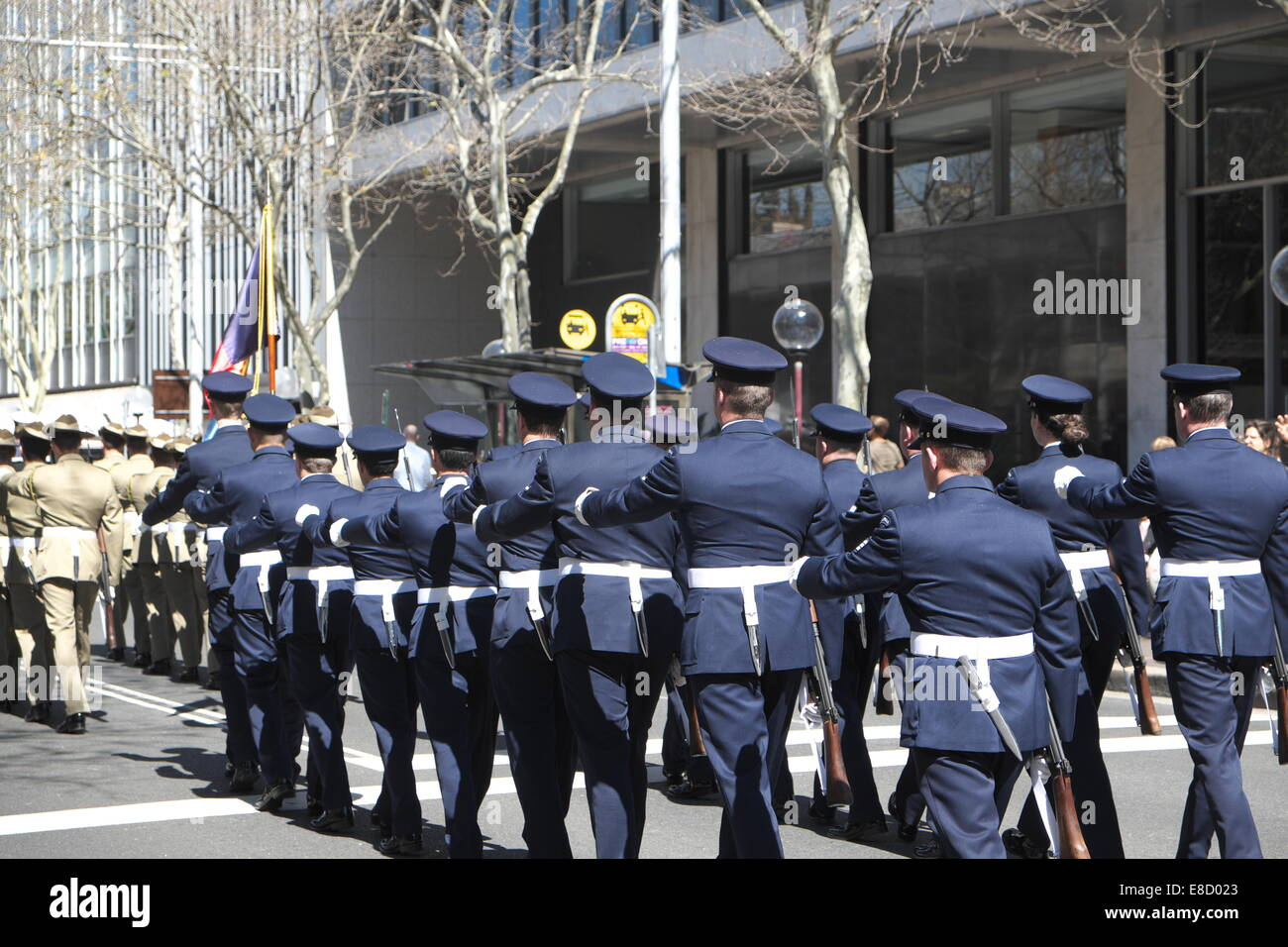 australian defence force personnel marching down macquarie street sydney after Governor Bashir opened 55th state - Stock Image