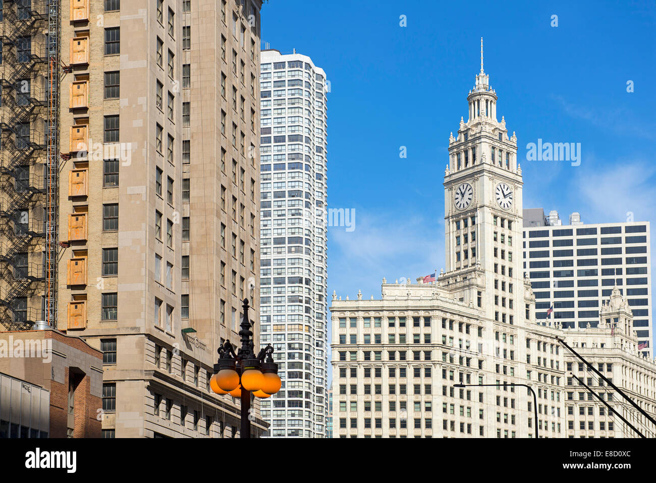 Wrigley Building Chicago Skyscrapers, High Rise - Stock Image