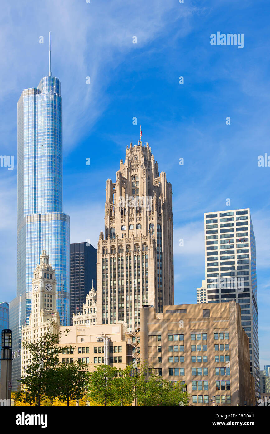 Chicago Trump Tower, Tribune Tower, Wrigley Building - Stock Image