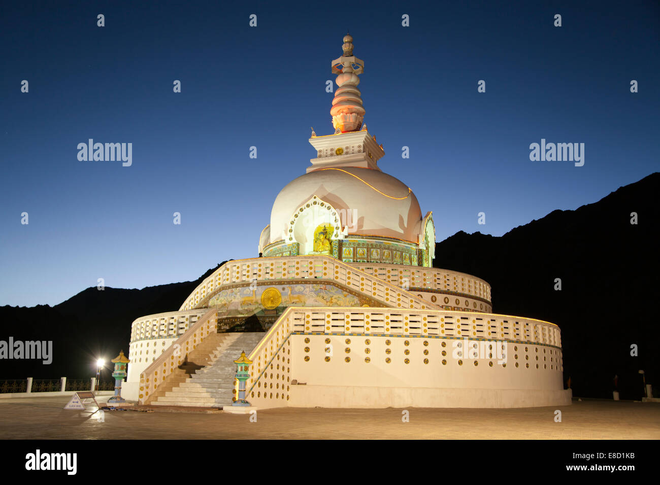 Shanti Stupa a Buddhist white-domed stupa on a hilltop in Leh, Ladakh, in the Indian state of Jammu and Kashmir Stock Photo