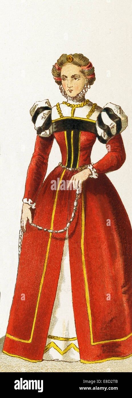 The German woman represented here is a woman from Augsburg. The illustration dates to 1882. - Stock Image