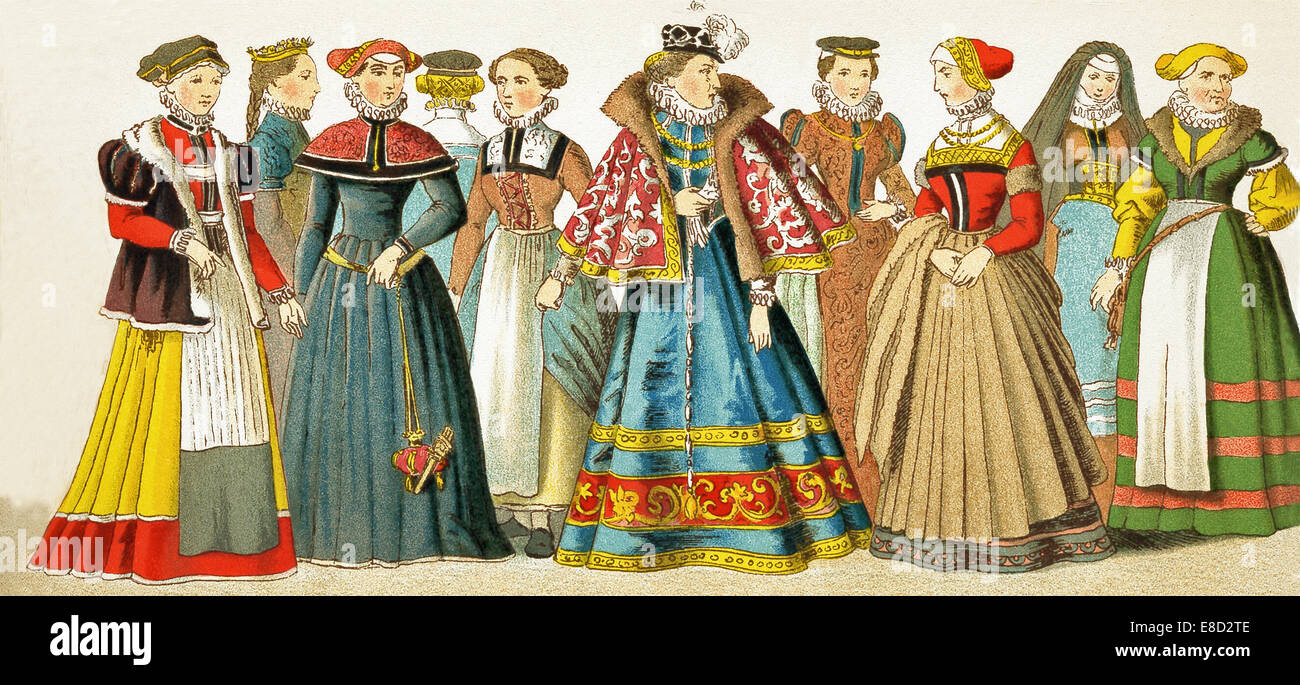The German  figures represented here are, from left to right: woman from Nuremberg, woman from Misnia, woman from - Stock Image