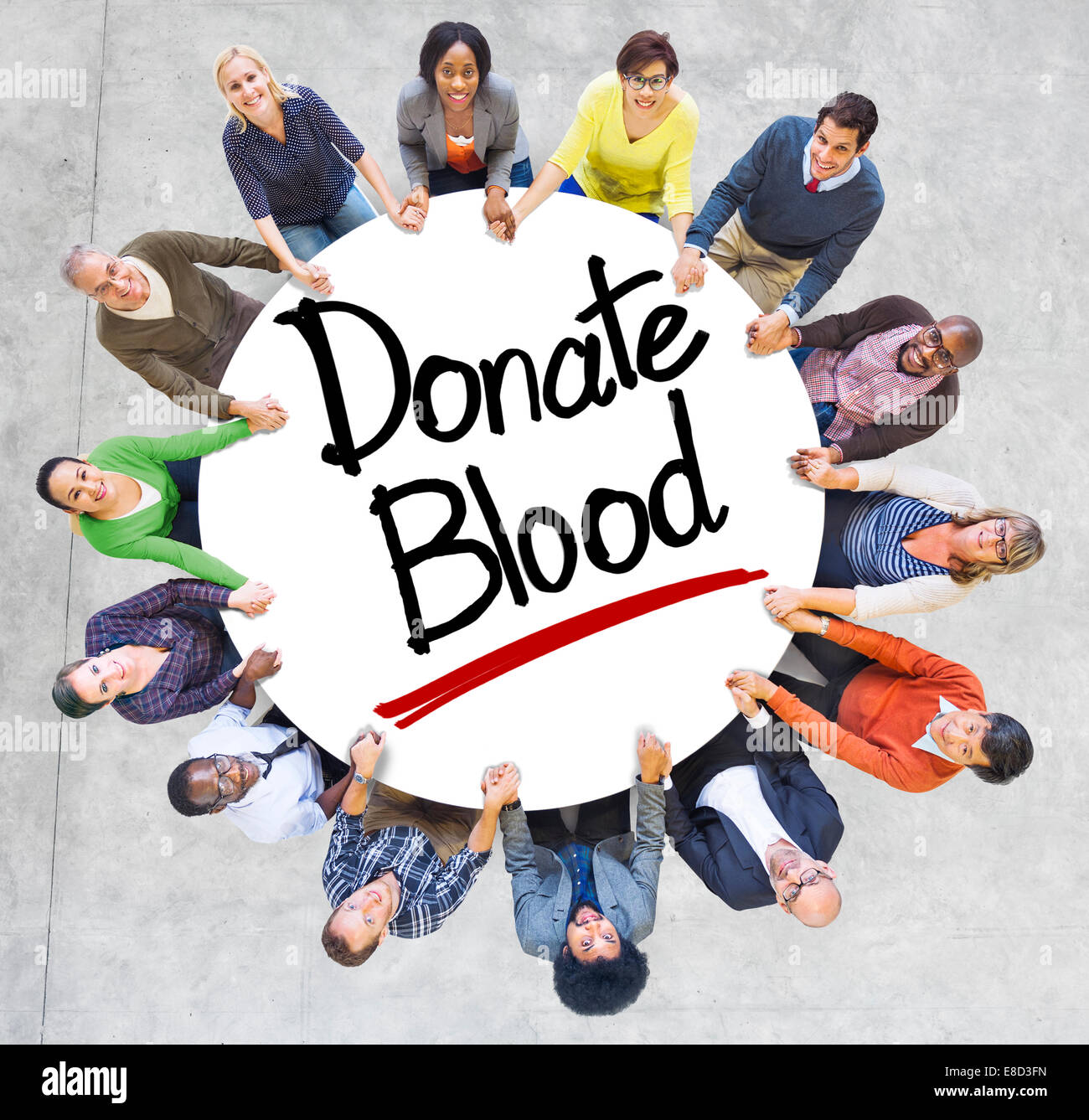 Aerial View of People and Texts Donate Blood - Stock Image
