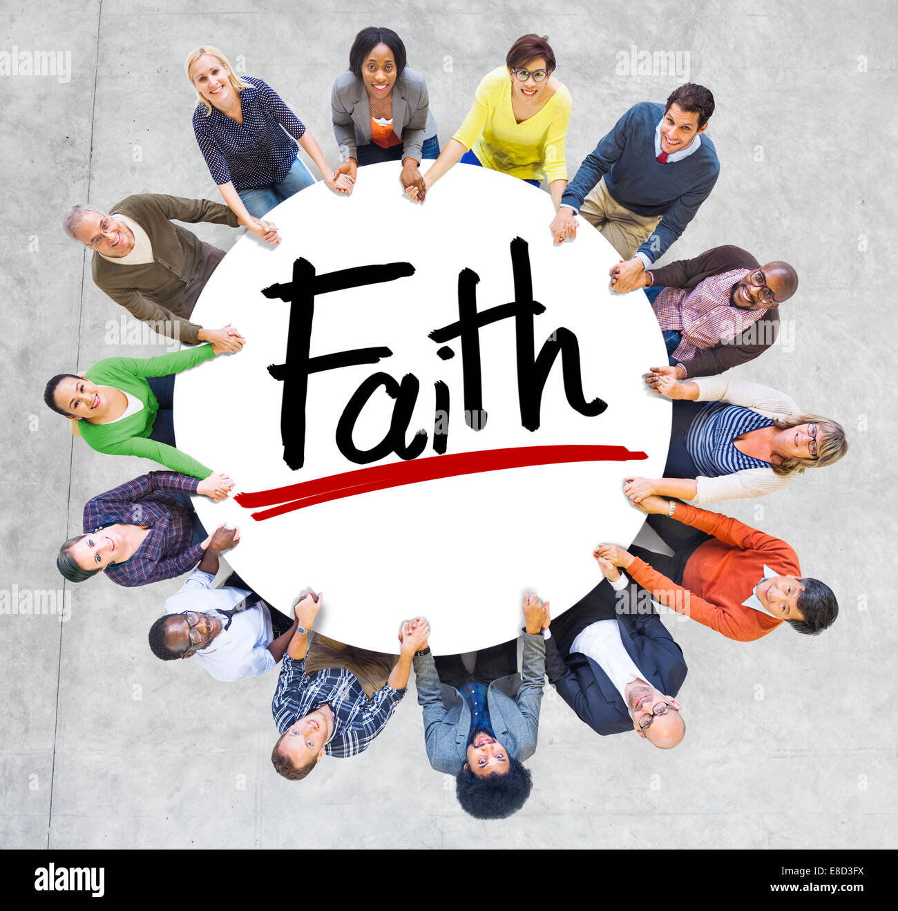 Diverse People Holding Hands Faith Concept - Stock Image