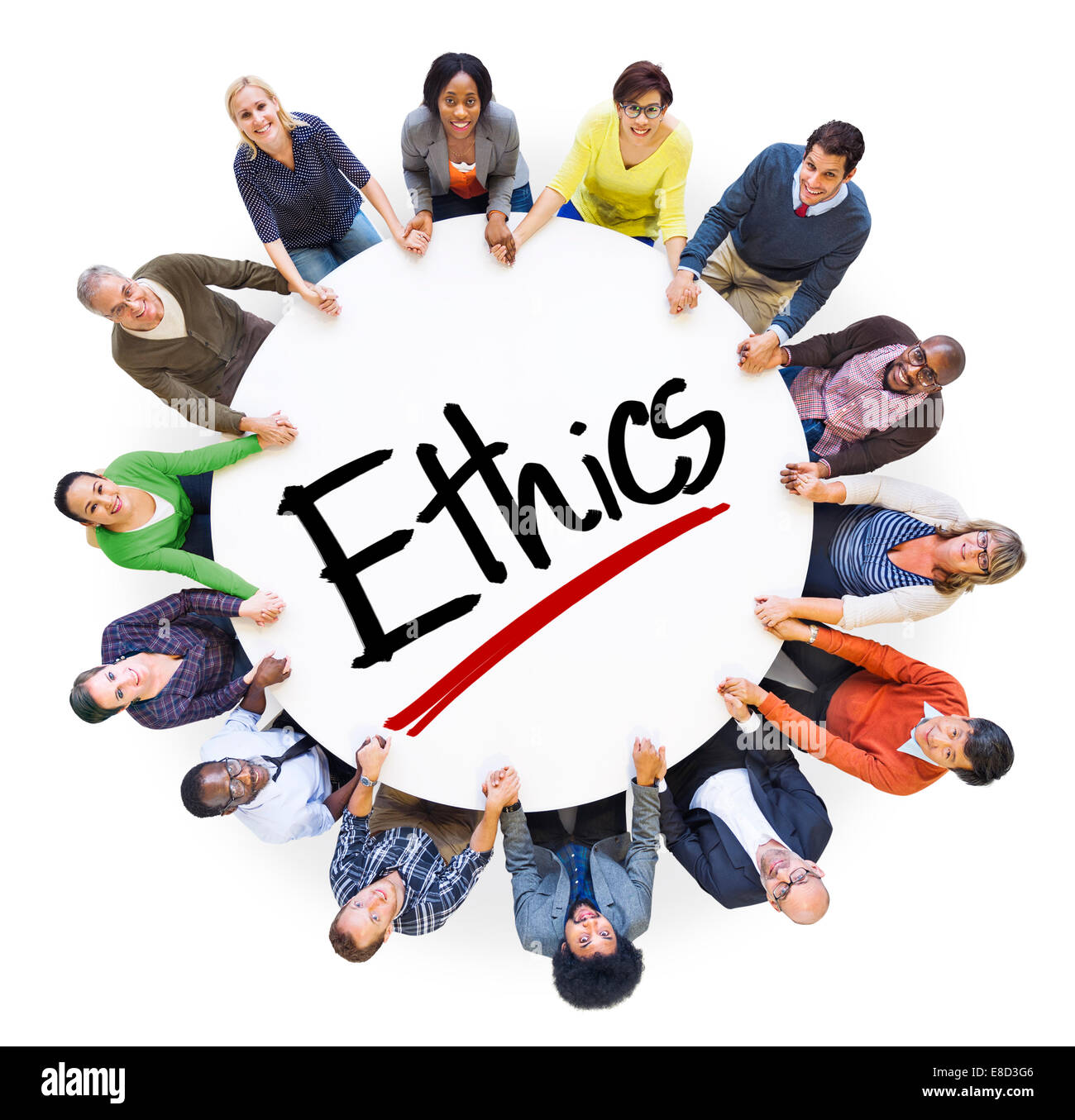 Group of People Holding Hands Around Letter Ethics - Stock Image