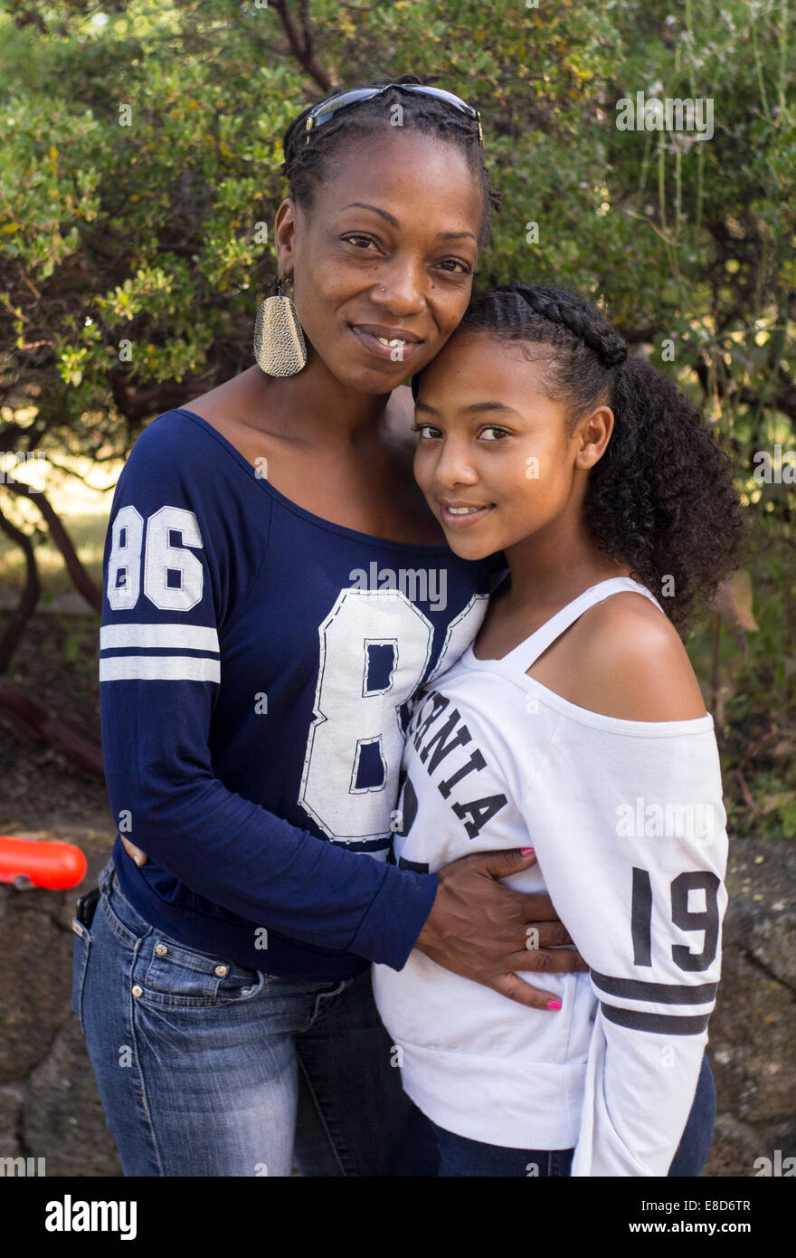 African-Americans, mother and daughter, birthday party, city of Santa Rosa, Santa Rosa, Sonoma County, California, - Stock Image
