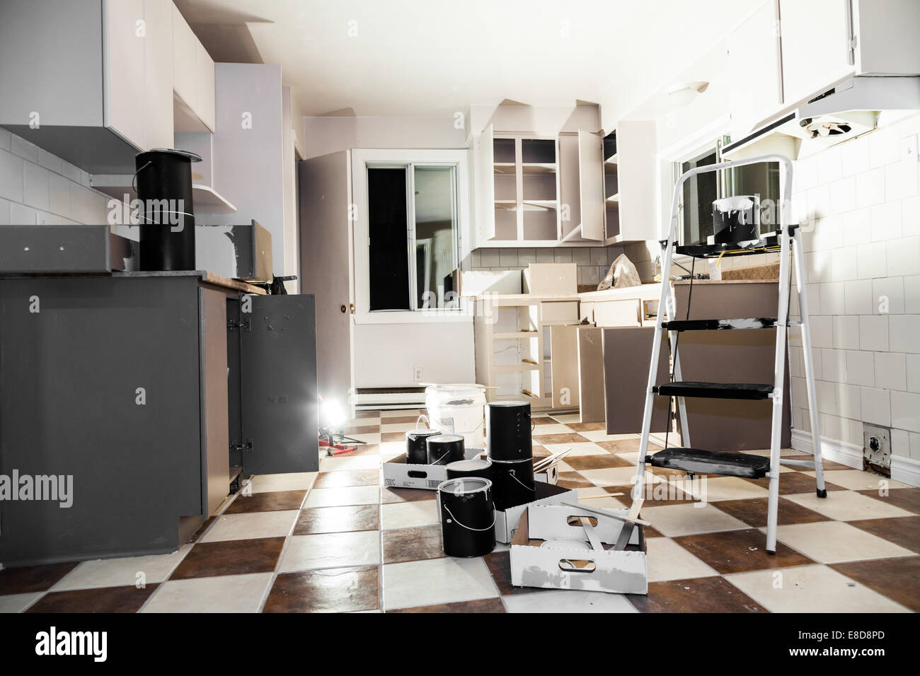 Mess of All kind of Painting Equipment in the Kitchen - Stock Image