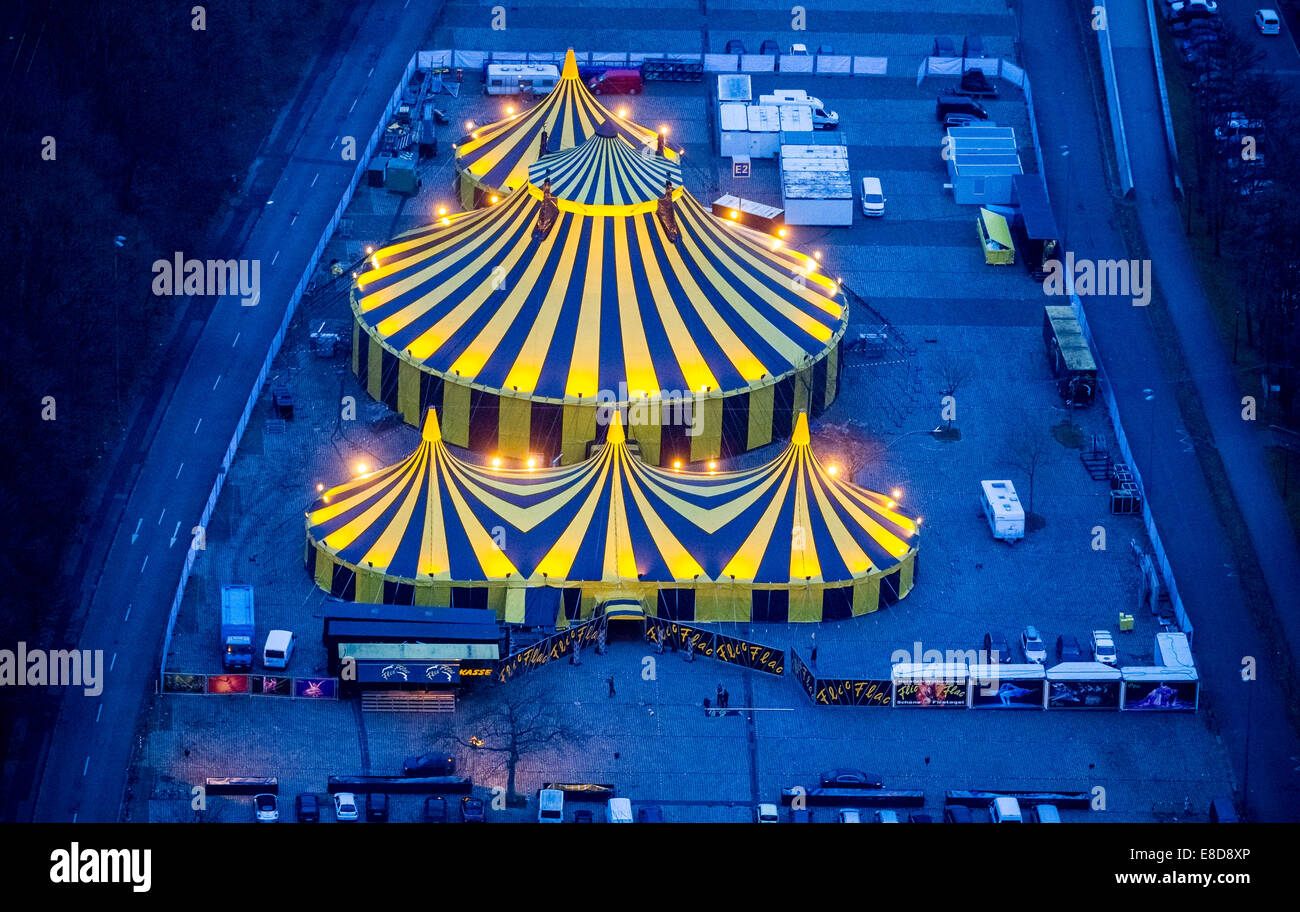 Tent of Circus FlicFlac, Christmas circus in the Ruhr area, show 'Schöne Firetage!', aerial view, Dortmund, - Stock Image