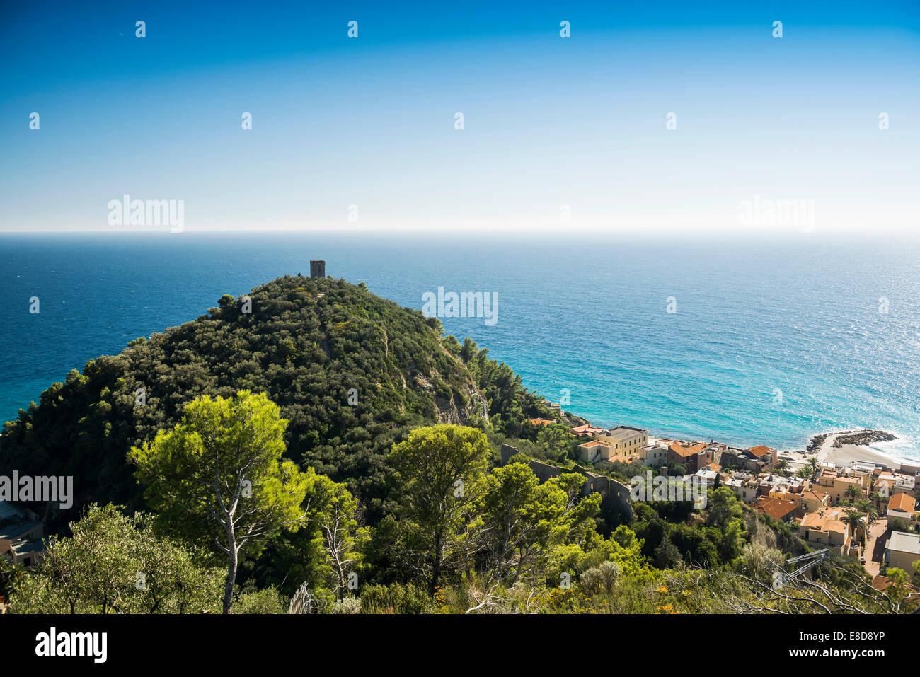 The village of Varigotti on the coast, Finale Ligure, Liguria, Italy - Stock Image