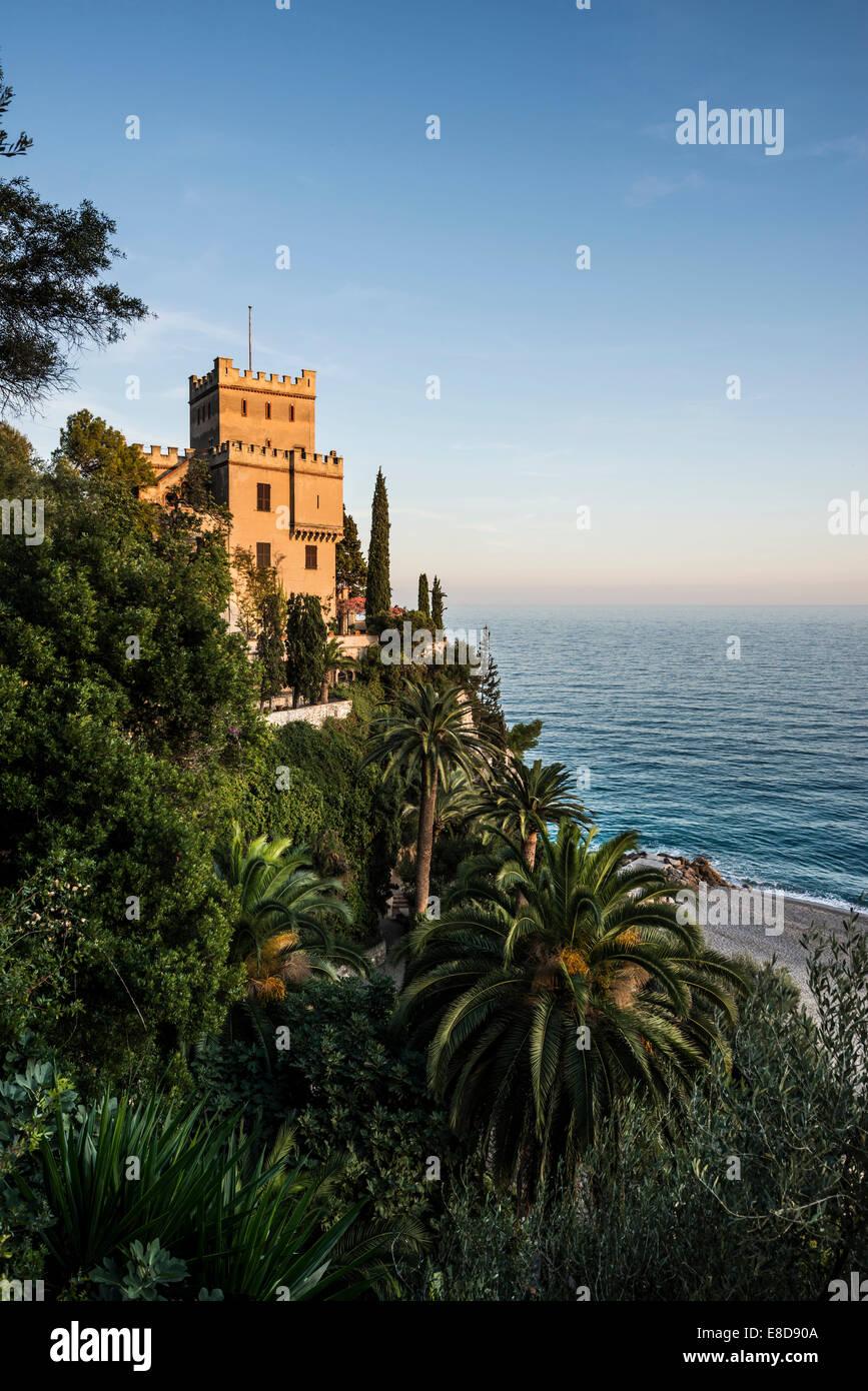 Villa by the sea, Finale Ligure, Riviera di Ponente, Liguria, Italy - Stock Image