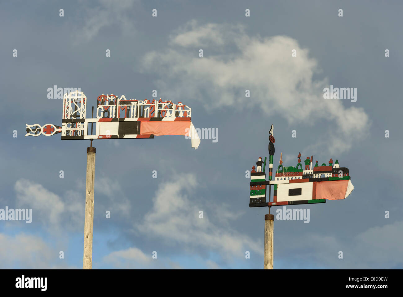 Curonian flags, Nida, Klaipėda County, Lithuania - Stock Image