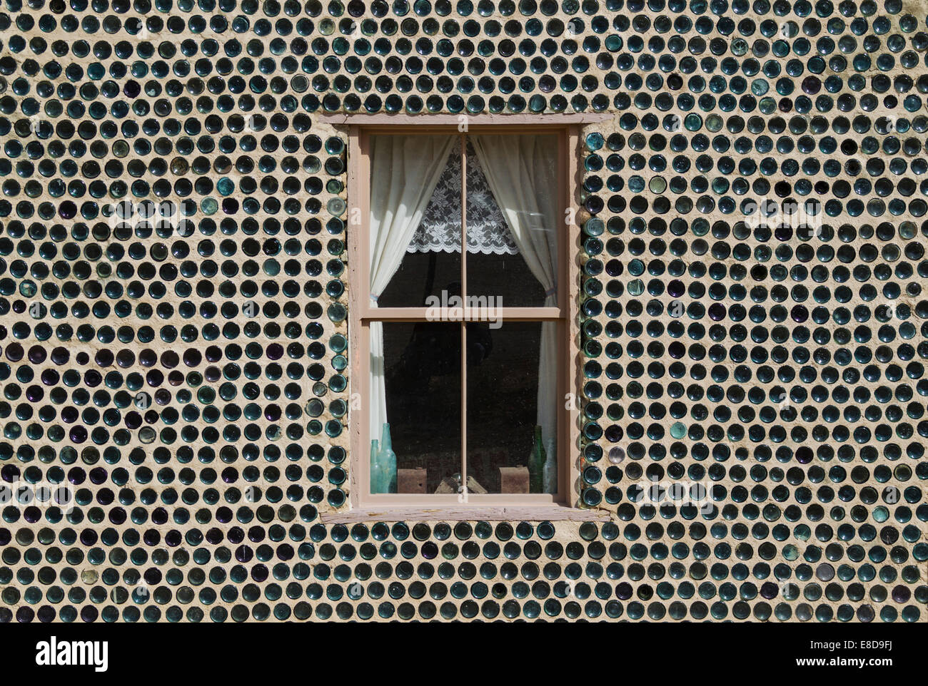 The famous 'Bottle House', built from more than 30.000 bottles, ghost town of Rhyolite, Nevada, USA - Stock Image